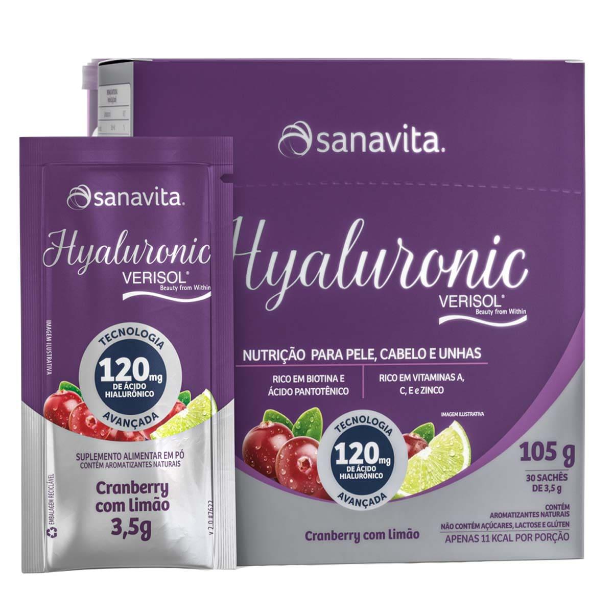 Hyaluronic Verisol  Cranberry com Limão Display 30 sachês