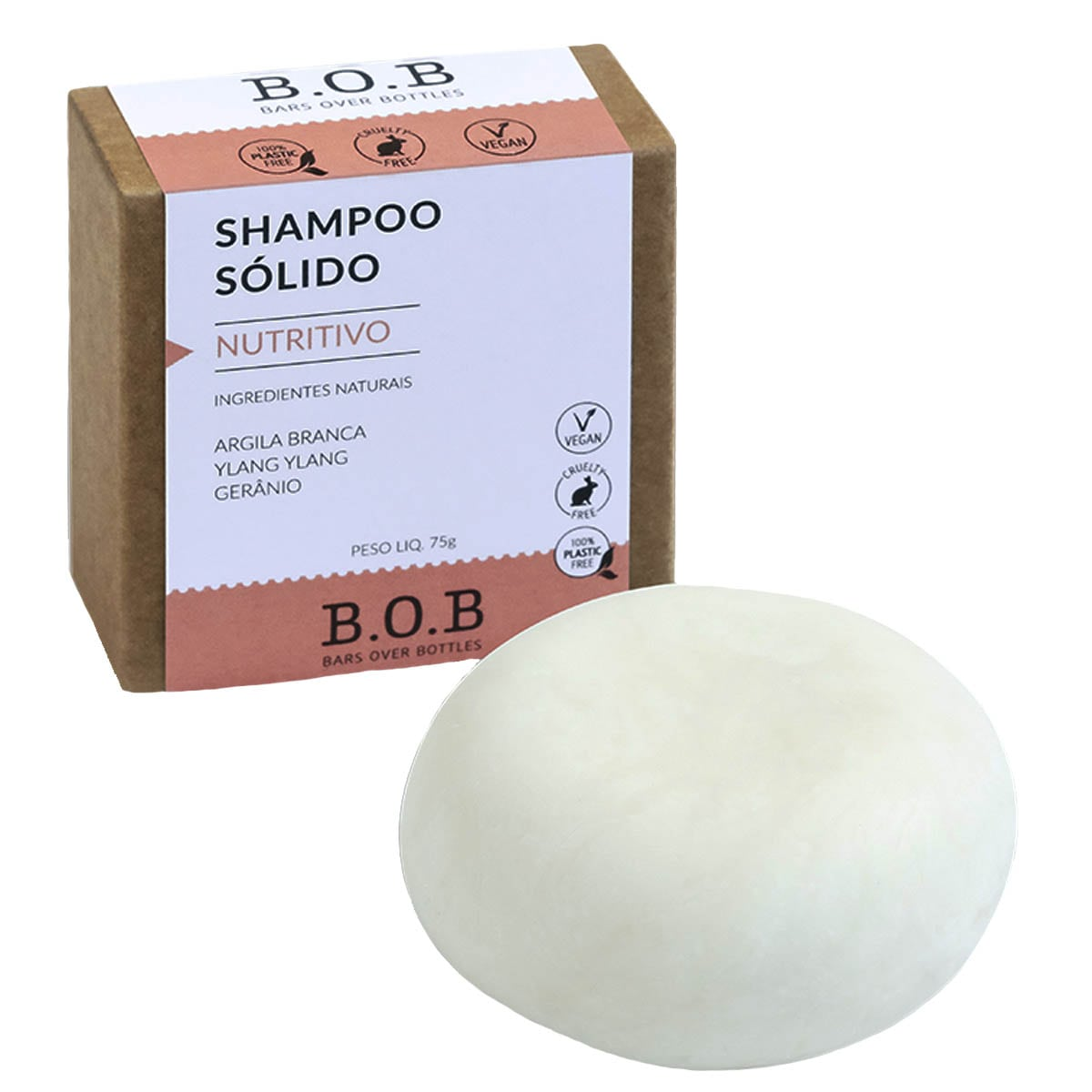 Shampoo sólido nutritivo 75g - B.O.B