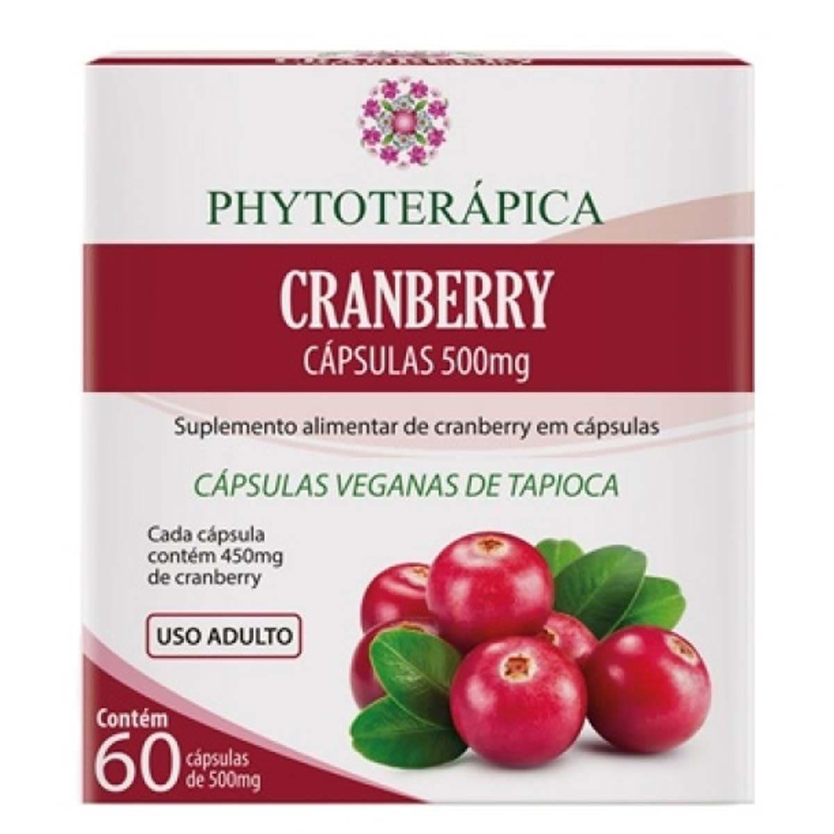 Suplemento Cranberry 500mg - 60 Cápsulas - Phytoterápica