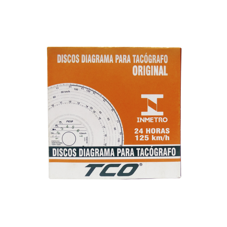 Disco de Tacógrafo Diagrama 7 Dias 125 Km TCO (Kit 10 conjuntos de 7 discos)
