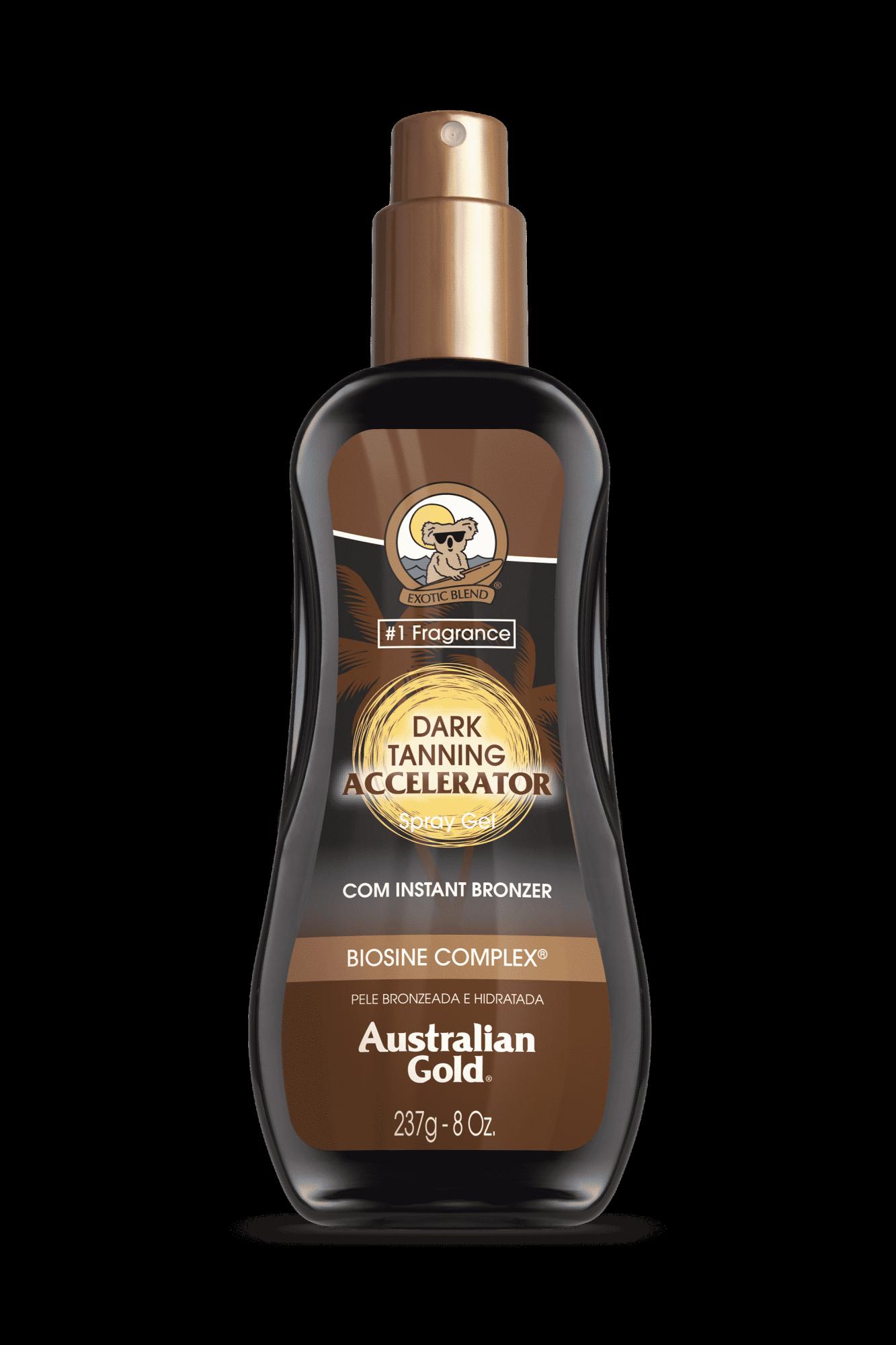 Australian Gold Dark Tanning Accelerator com Instant Bronzer Spray Gel Acelerador de Bronzeado 237gr