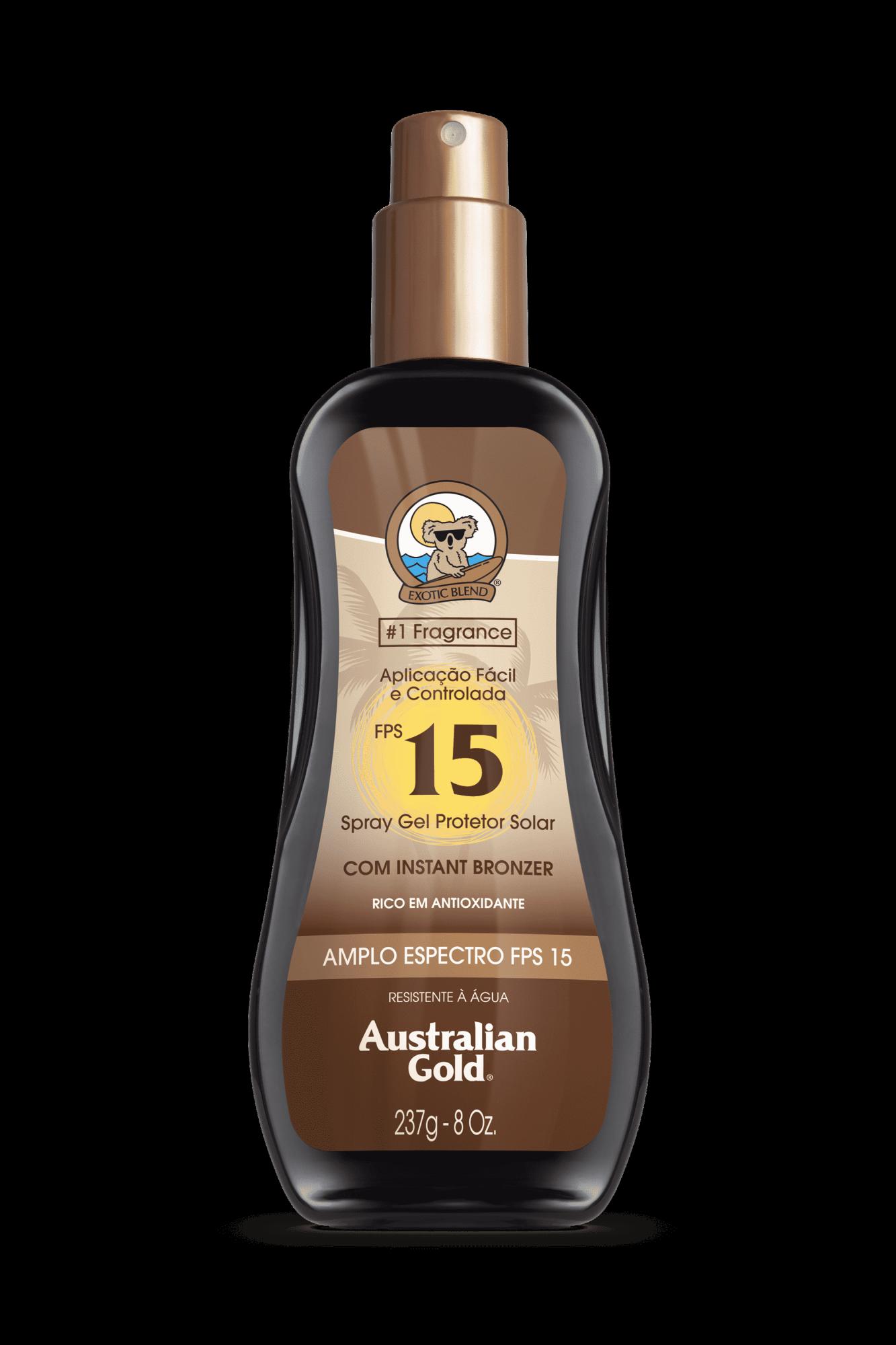 Australian Gold Protetor Solar Spray Gel com Instant Bronzer FPS 15 237gr