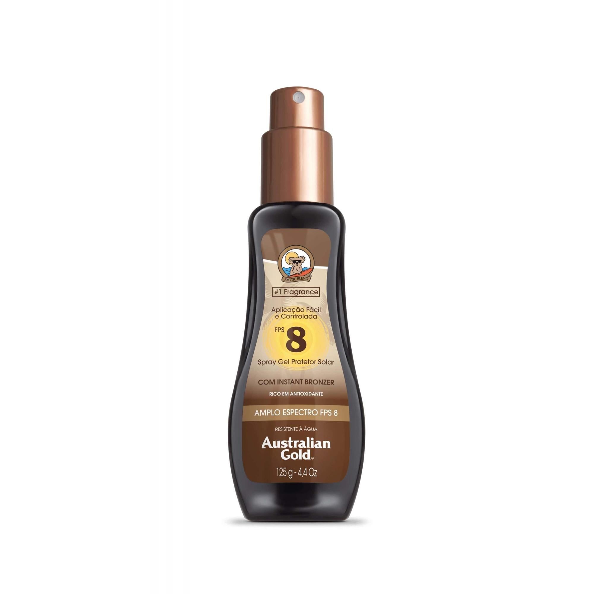 Australian Gold Protetor Solar Spray Gel com Instant Bronzer FPS 8 0,125gr