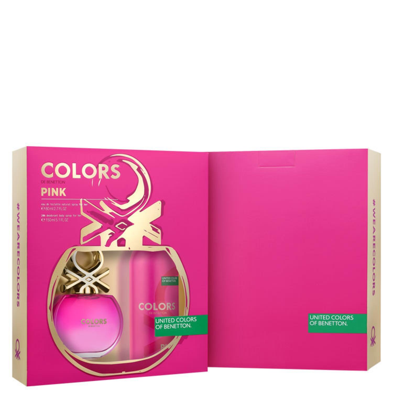 Conjunto Colors Pink Deo Benetton Feminino - Eau de Toilette 80ml + Desodorante 150ml