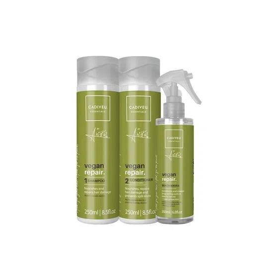 KIT CADIVEU PROFISSIONAL Vegan Repair Anitta - Shampoo 250ml + Condicionador 200ml + Leave in Beach Waves 200ml