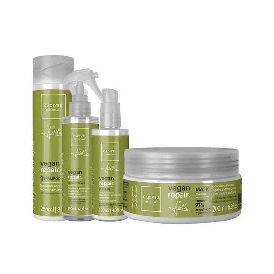 KIT CADIVEU PROFISSIONAL Vegan Repair by Anitta - Shampoo 250 ml + Máscara 200 ml + Leave-in 120 ml + Beach Waves 200 ml