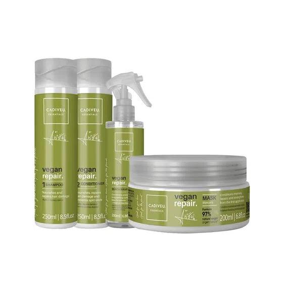KIT CADIVEU PROFISSIONAL Vegan Repair by Anitta - Shampoo 250ml + Condicionador 200ml + Máscara 200ml+Beach Waves 200ml
