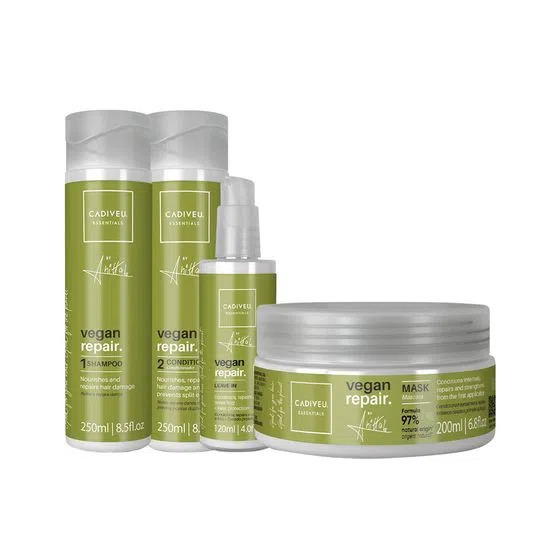 KIT CADIVEU PROFISSIONAL Vegan Repair by Anitta - Shampoo 250ml + Condicionador 200ml + Máscara 200ml + Leave-in 120ml