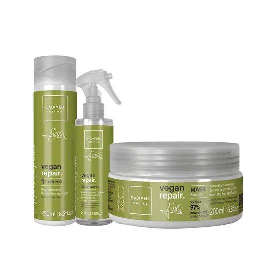 KIT CADIVEU PROFISSIONAL Vegan Repair by Anitta - Shampoo 250ml + Máscara 200ml + Leave-in Beach Waves 200ml