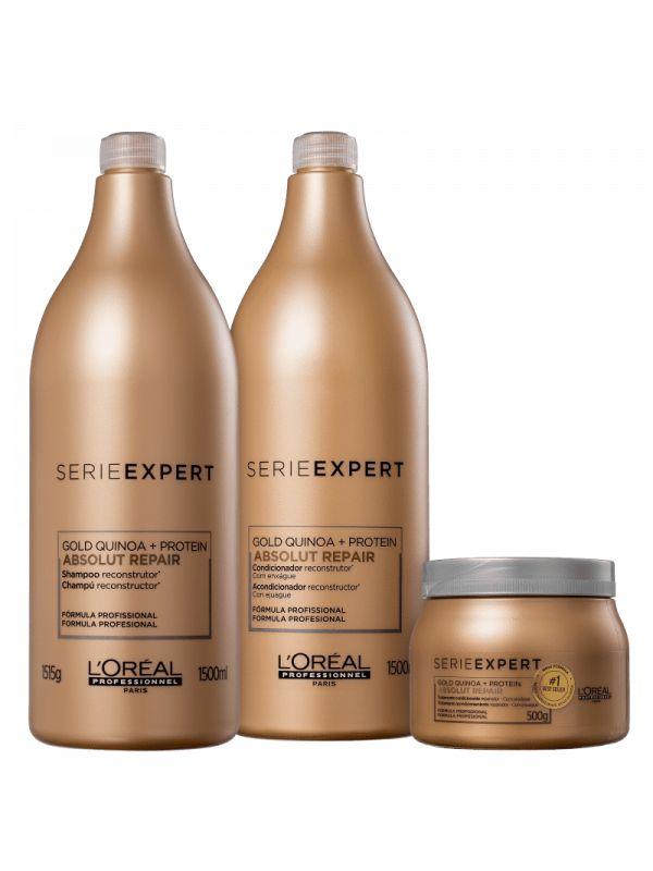 KIT L'ORÉAL PROFESSIONNEL Gold Quinoa + Protein Salon Trio (3 Produtos)