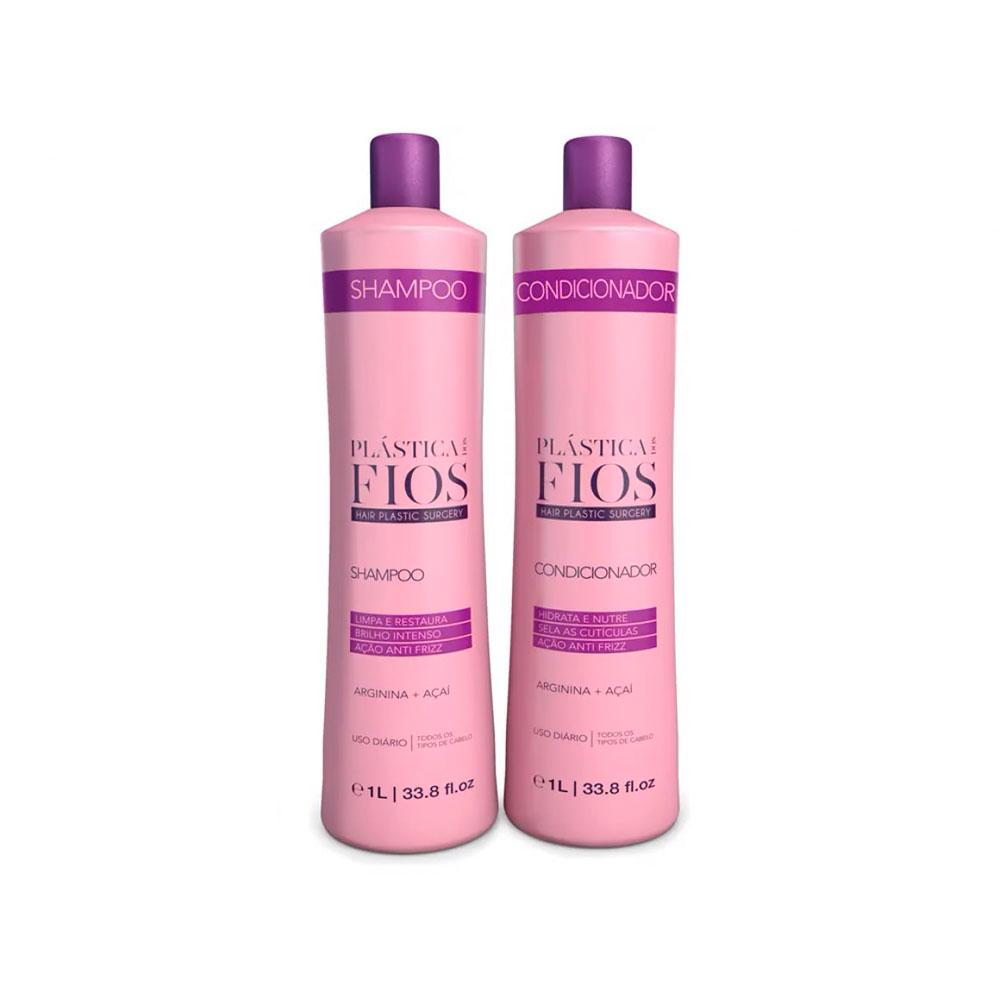 Kit Lavatório Plástica dos Fios Shampoo e Condicionador 1L