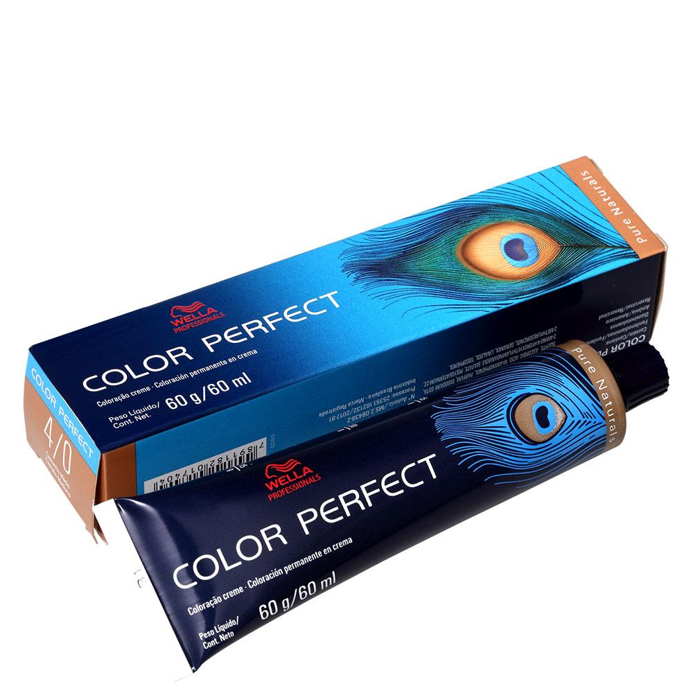 Wella Professionals Color Perfect 4/0 Castanho Médio - Coloração Permanente 60g