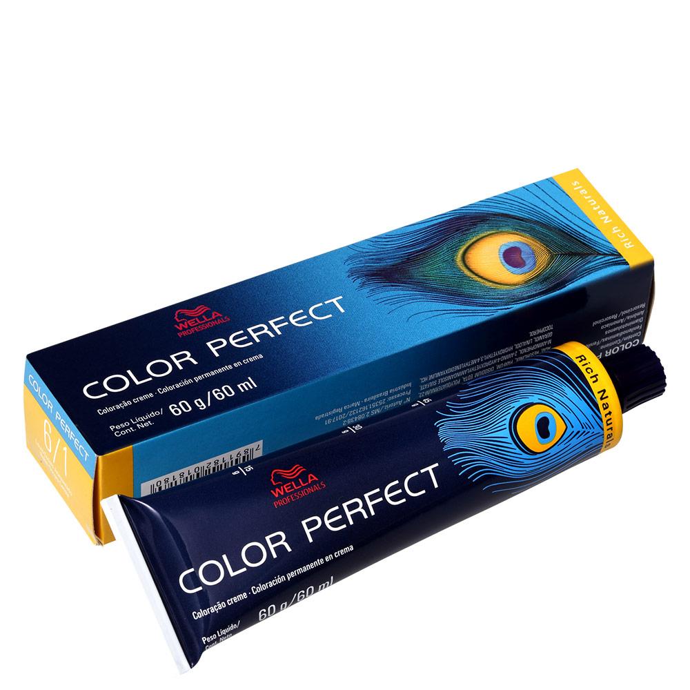 Wella Professionals Color Perfect 6/1 Louro Escuro Acinzentado - Coloração Permanente 60g