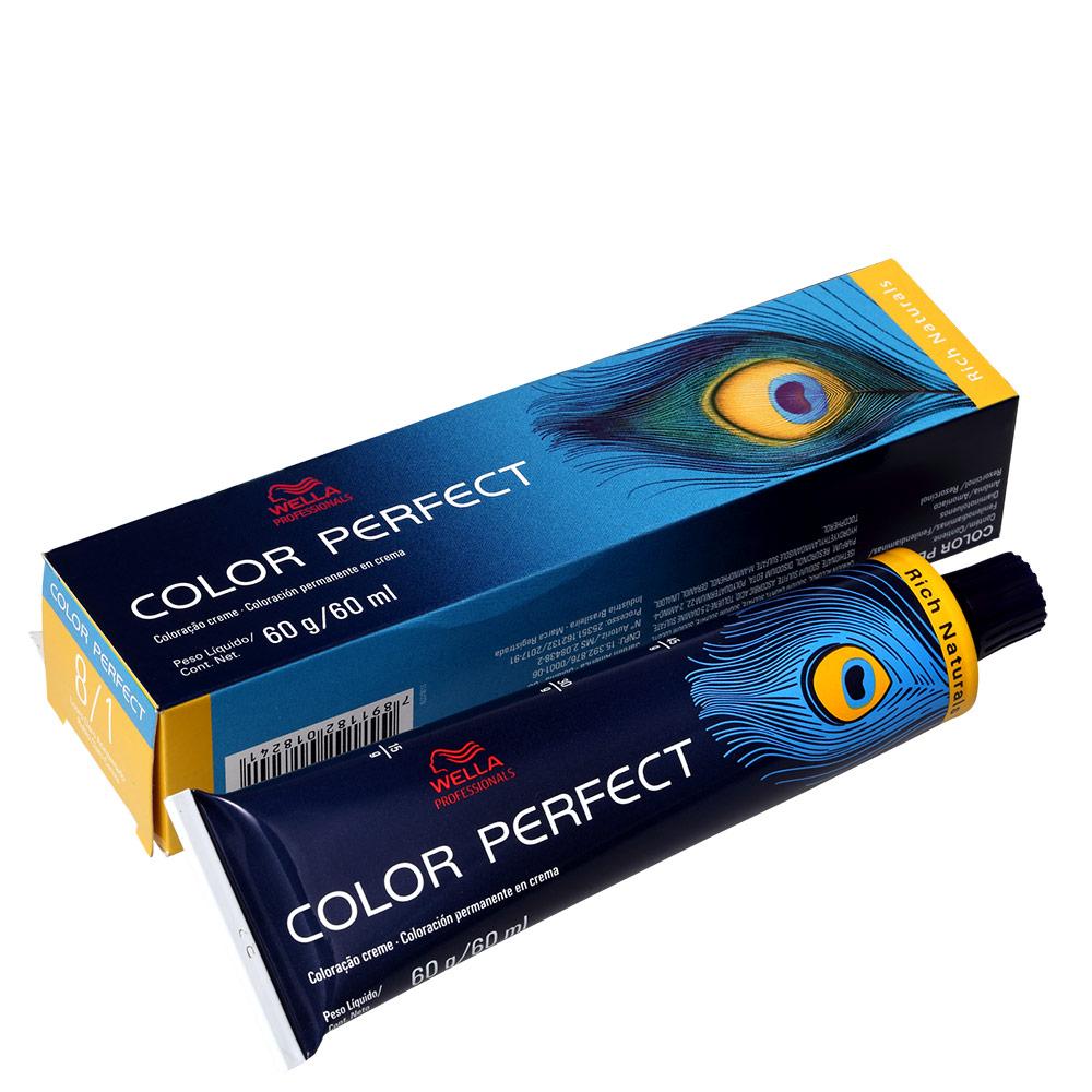 Wella Professionals Color Perfect 8/1 Louro Claro Acinzentado - Coloração Permanente 60g