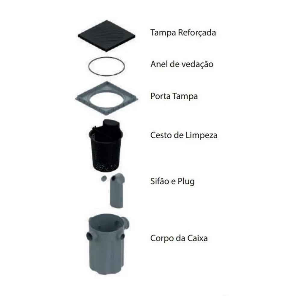 CAIXA DE GORDURA DN 100MM TIGRE COM TAMPA E CESTO