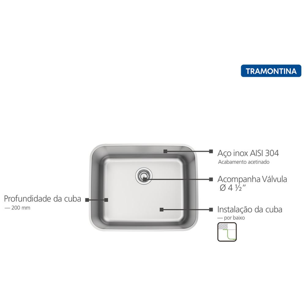 CUBA TRAMONTINA DORA 50X40CM INOX ACETINADO VALV 4.1/2