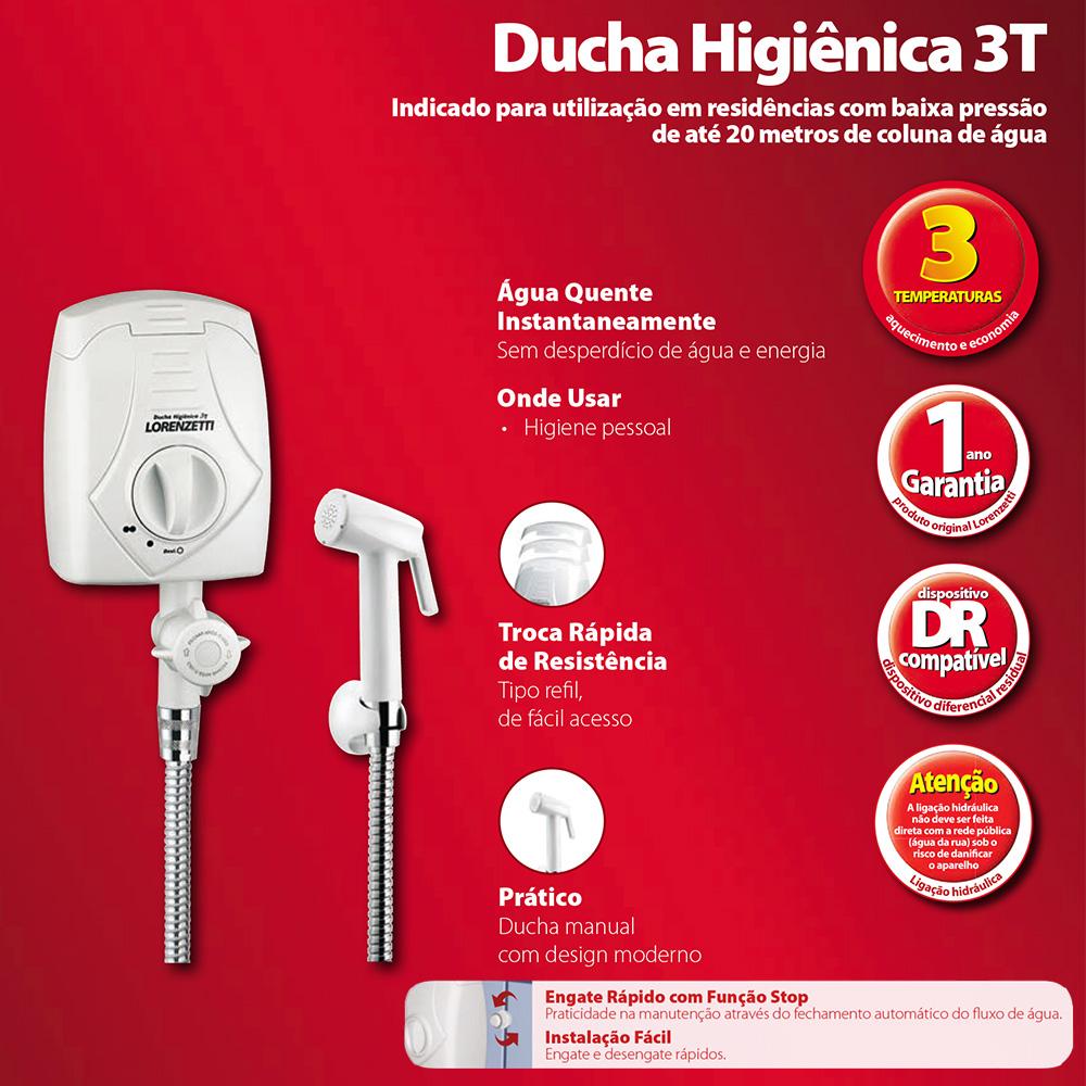 DUCHA HIGIENICA LORENZETTI 3 TEMPERATURAS 220V/4300W