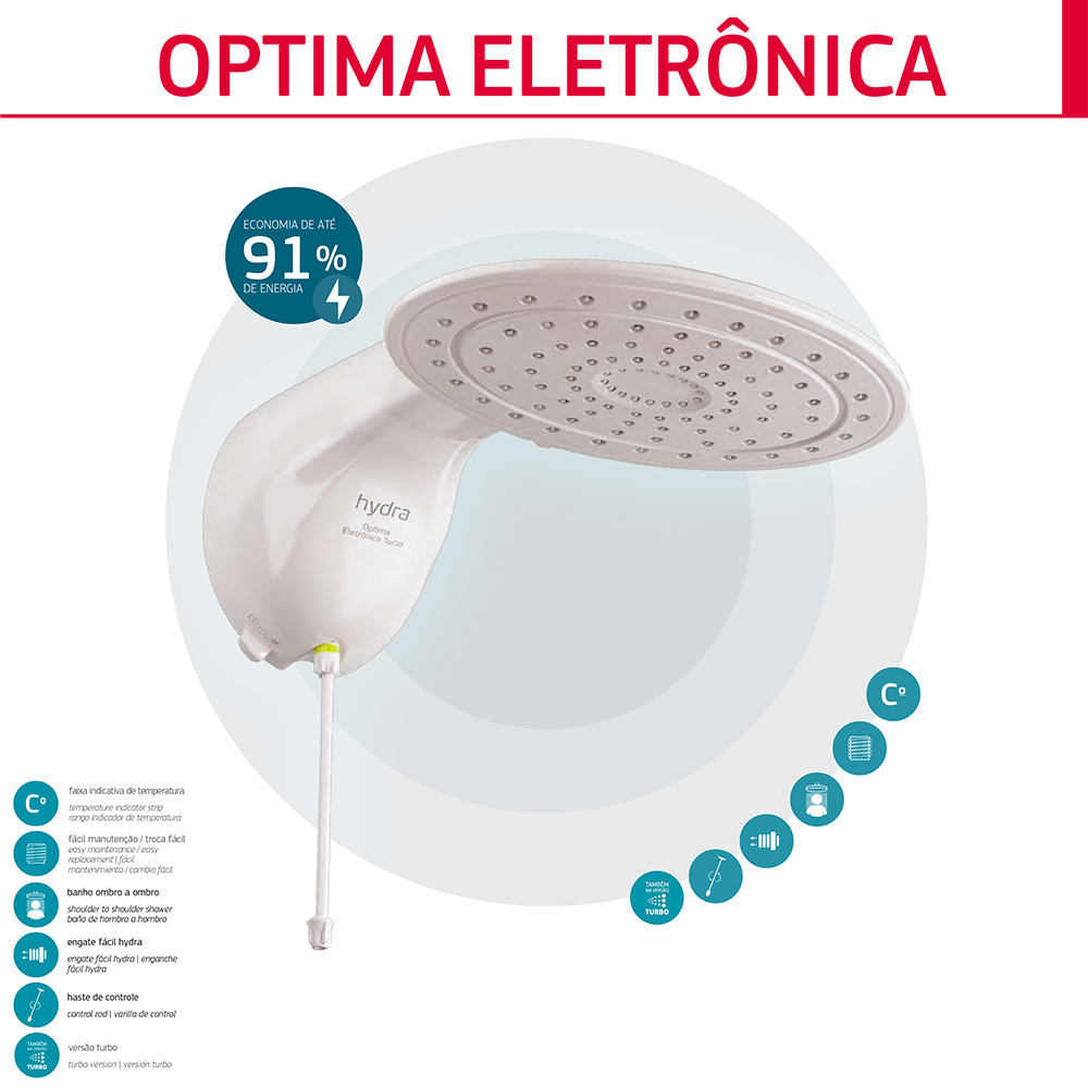 DUCHA HYDRA OPTIMA TURBO 220V/7700W ELETRONICA