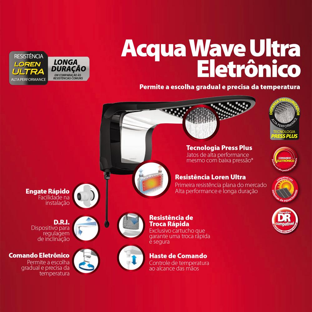 DUCHA LORENZETTI ACQUA WAVE ULTRA 220V/7800W PRETO/CROMADO