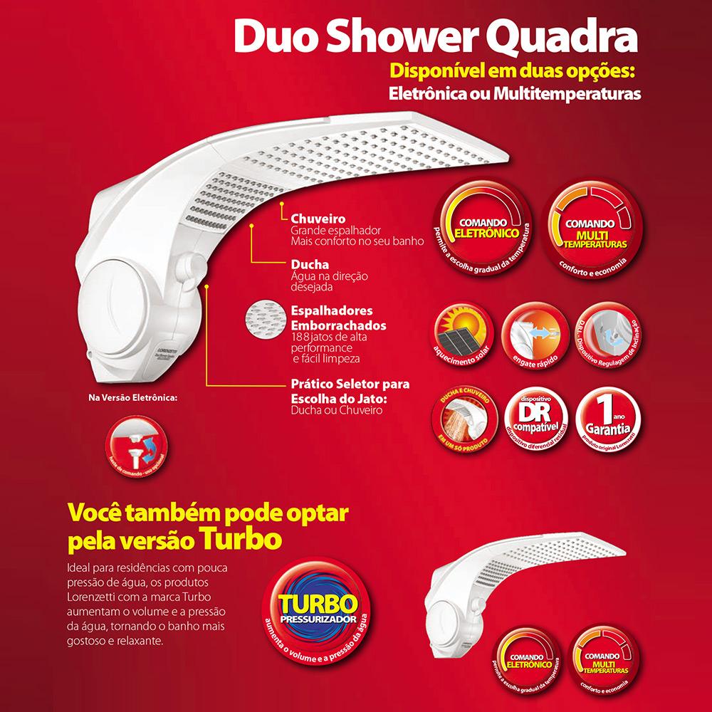 DUCHA LORENZETTI DUO SHOWER QUADRA 220V/7500W TURBO ELETRON