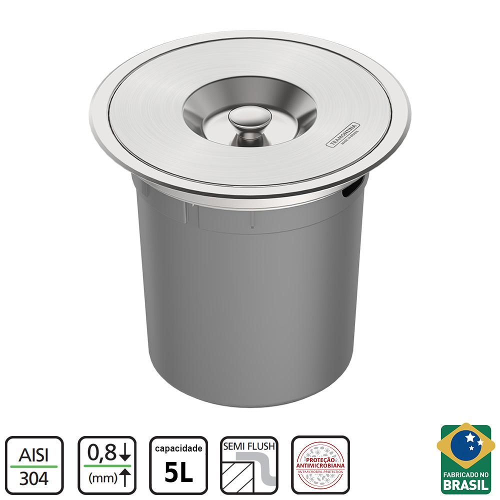 LIXEIRA DE EMBUTIR TRAMONTINA CLEAN ROUND INOX 5L