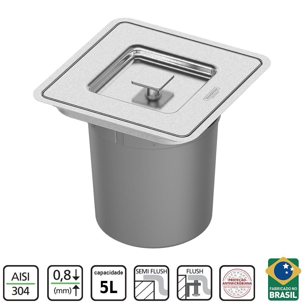 LIXEIRA DE EMBUTIR TRAMONTINA CLEAN SQUARE INOX 5L