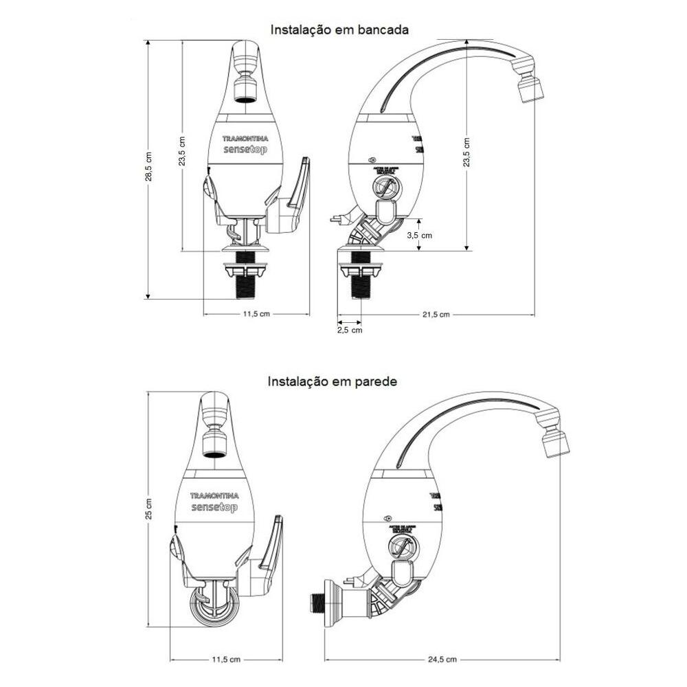 TORNEIRA ELETRONICA TRAMONTINA SENSETOP 220V/6500W