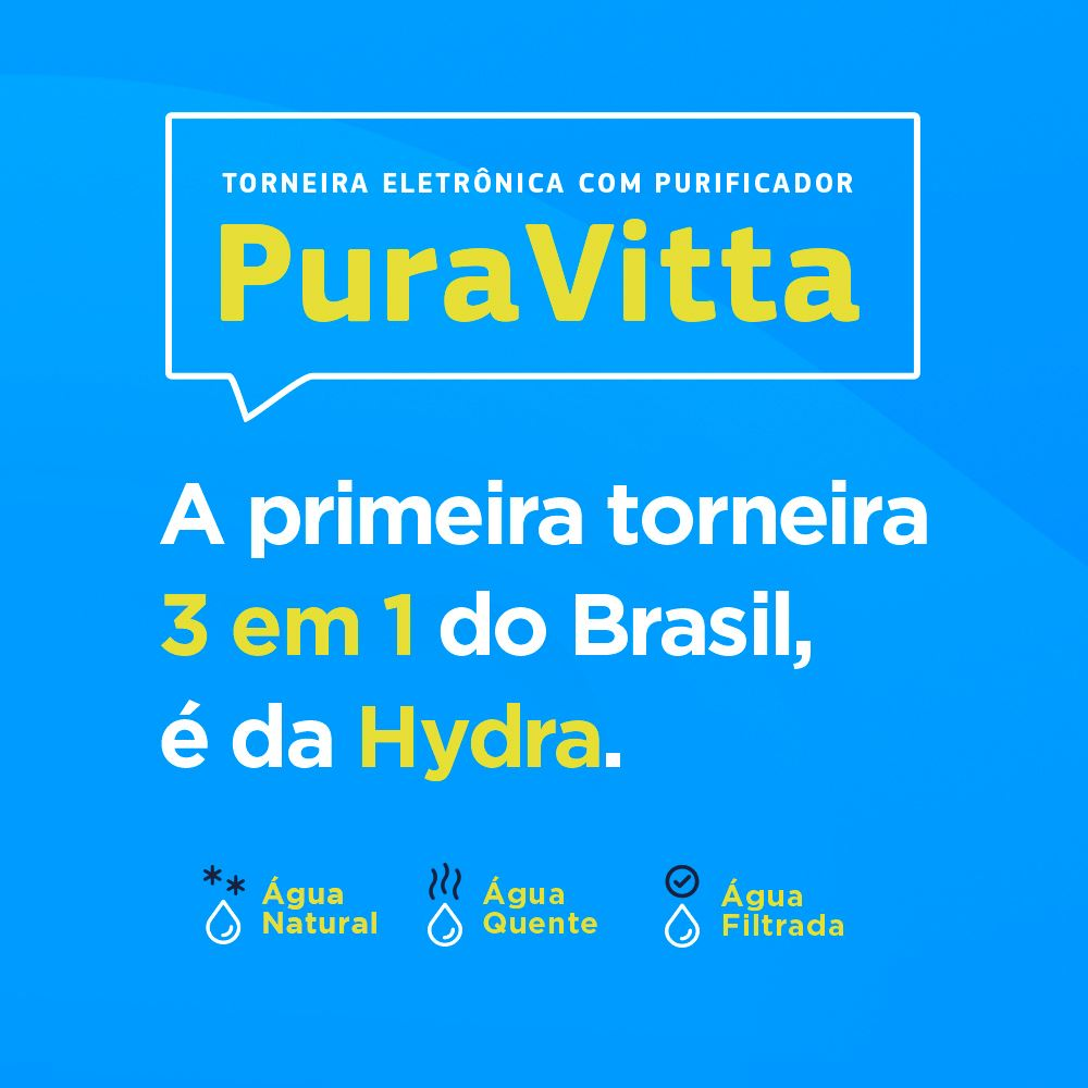 TORNEIRA HYDRA PURAVITTA 220V/5500W PAREDE COM PURIFICADOR