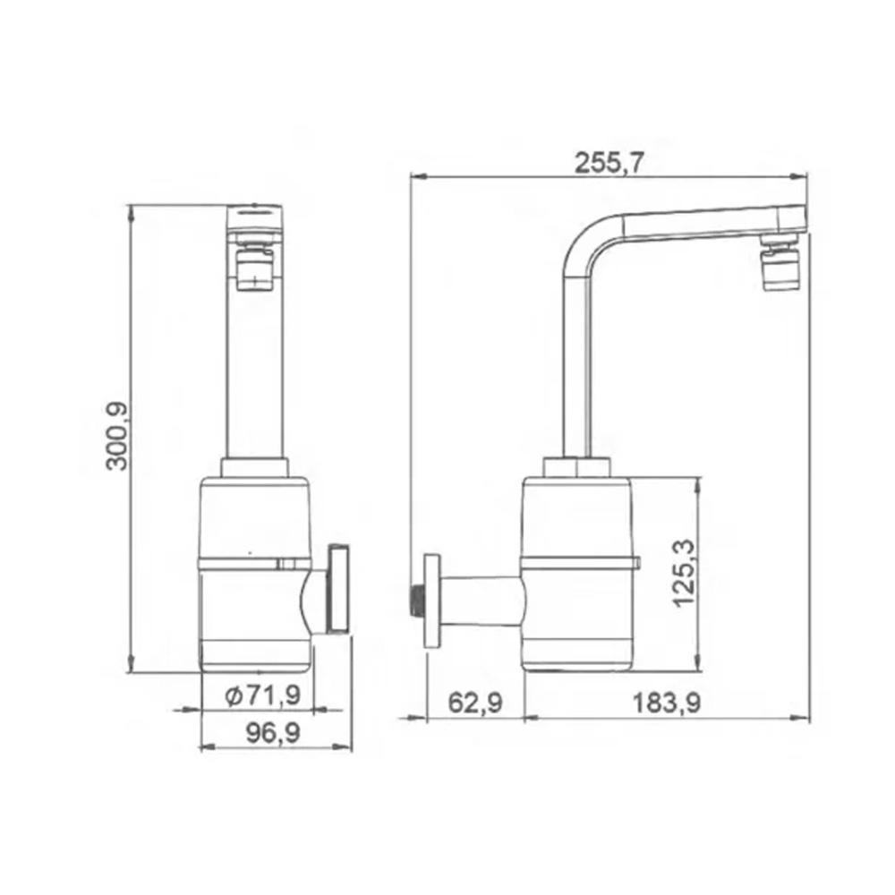 TORNEIRA MULTITEMPERATURA HYDRA SLIM 4T 220V/5500W PAREDE PRETA