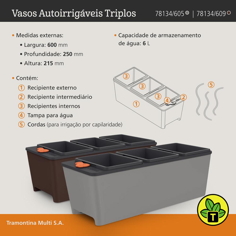 VASO PLASTICO TRIPLO AUTOIRRIGAVEL TRAMONTINA 10,5L CINZA