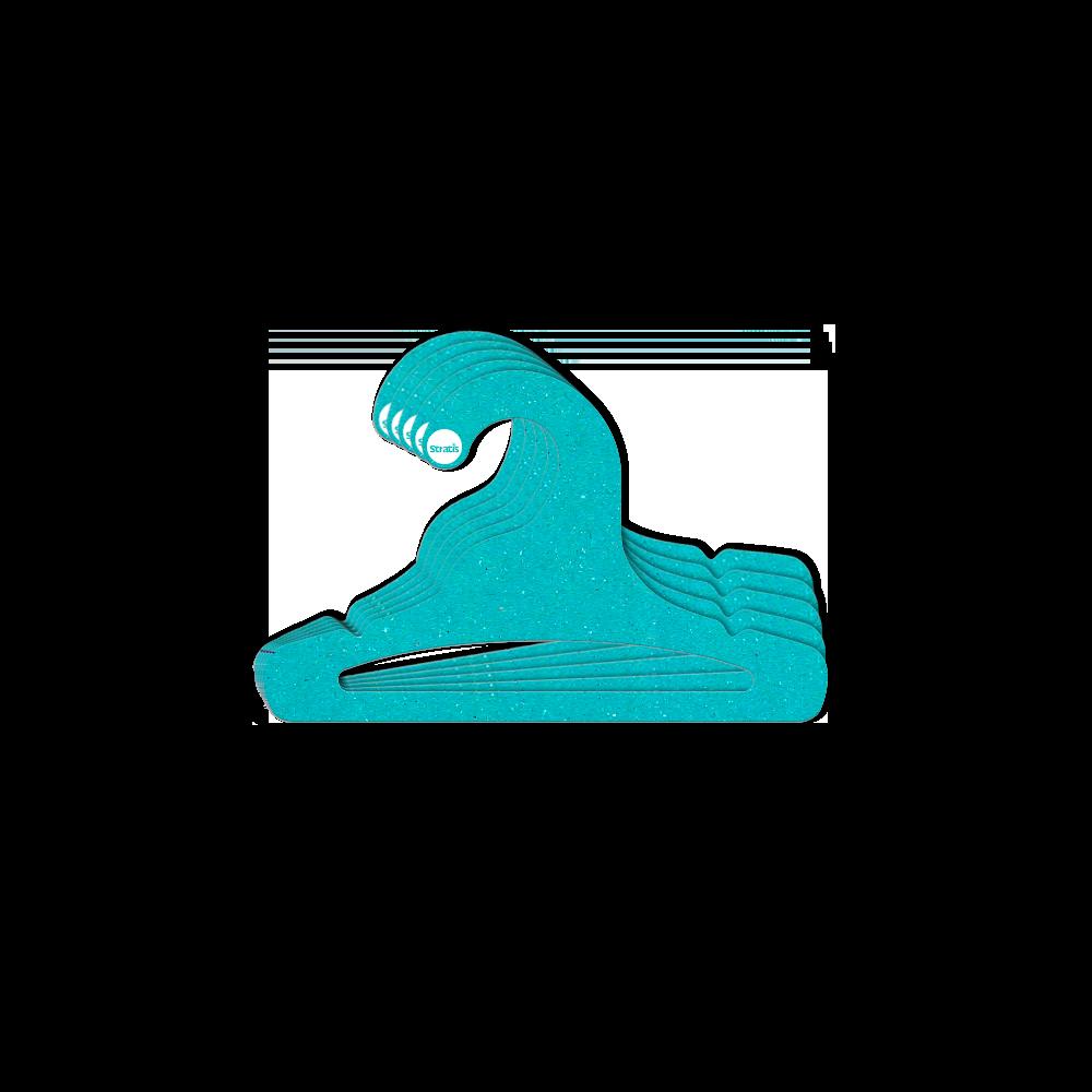 Cabide Ecológico Infantil Aberto  - Azul Ciano - CS101