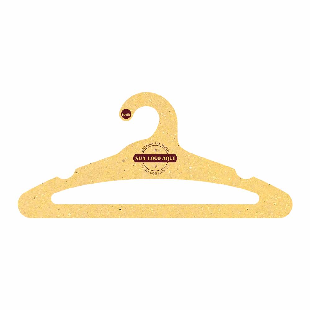 Cabide Ecológico Personalizado com sua Logo - Adulto Aberto  -Amarelo- CS105