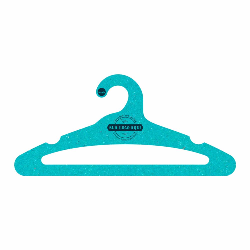 Cabide Ecológico Personalizado com sua Logo -Adulto Aberto -Azul Ciano- CS105