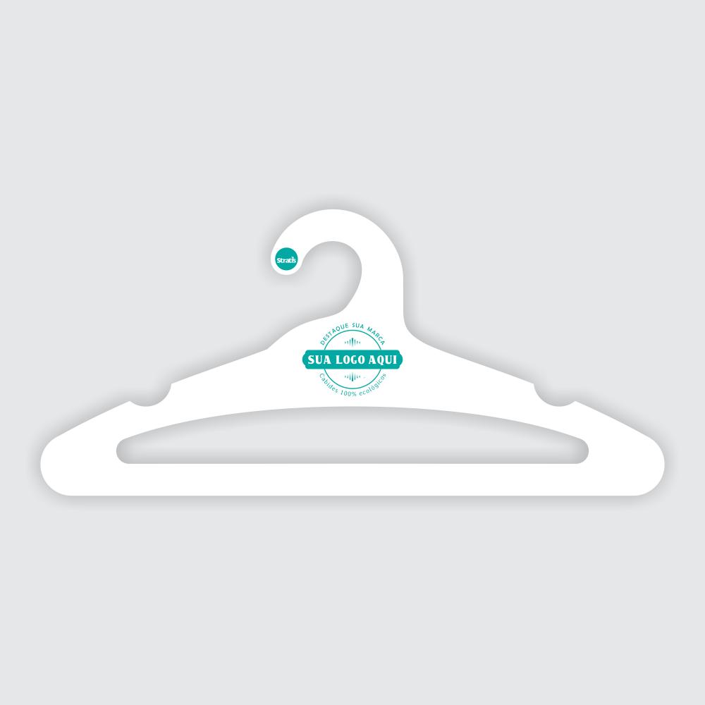 Cabide Ecológico Personalizado com sua Logo - Adulto Aberto - Branco - CS105