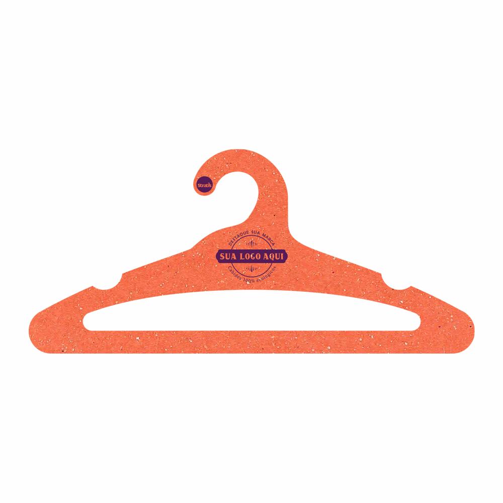 Cabide Ecológico Personalizado com sua Logo - Adulto Aberto -Laranja - CS105