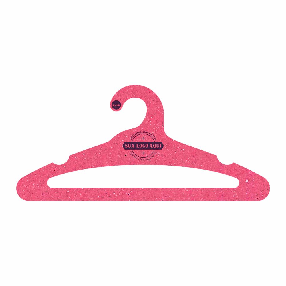 Cabide Ecológico Personalizado com sua Logo -Adulto  Aberto - Rosa- CS105