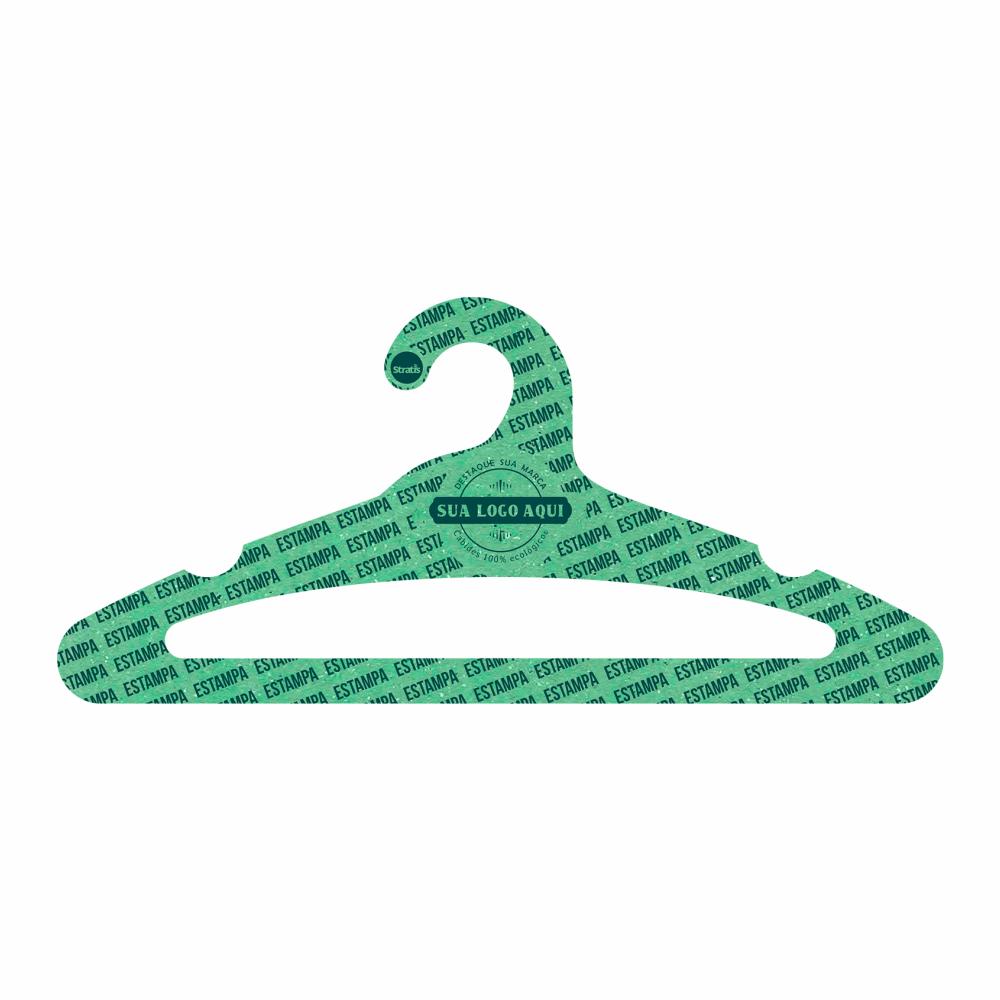 Cabide Ecológico Personalizado com sua Logo - Adulto Aberto - Verde Claro- CS105