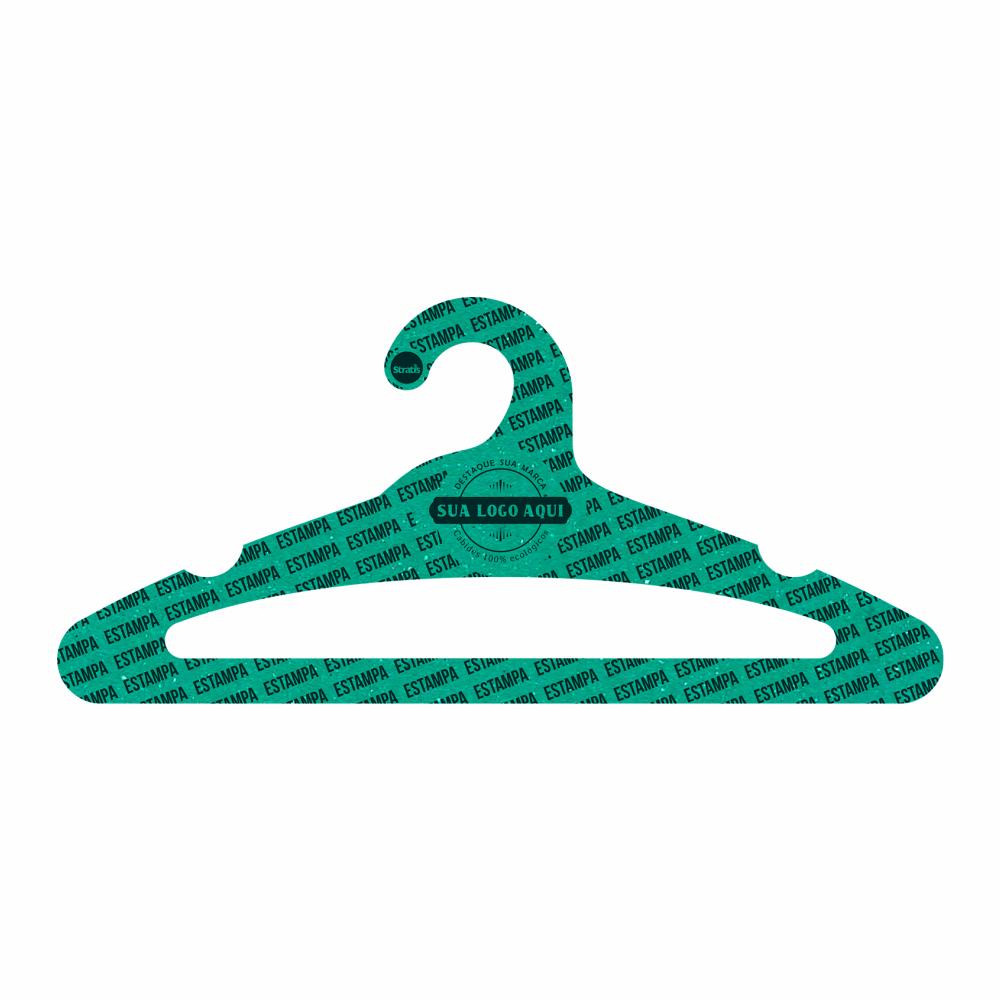 Cabide Ecológico Personalizado com sua Logo -Adulto Aberto - Verde - CS105