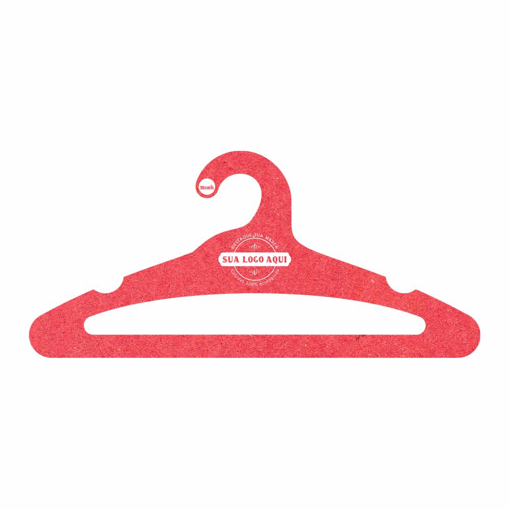 Cabide Ecológico Personalizado com sua Logo -Adulto  Aberto -Vermelho- CS105