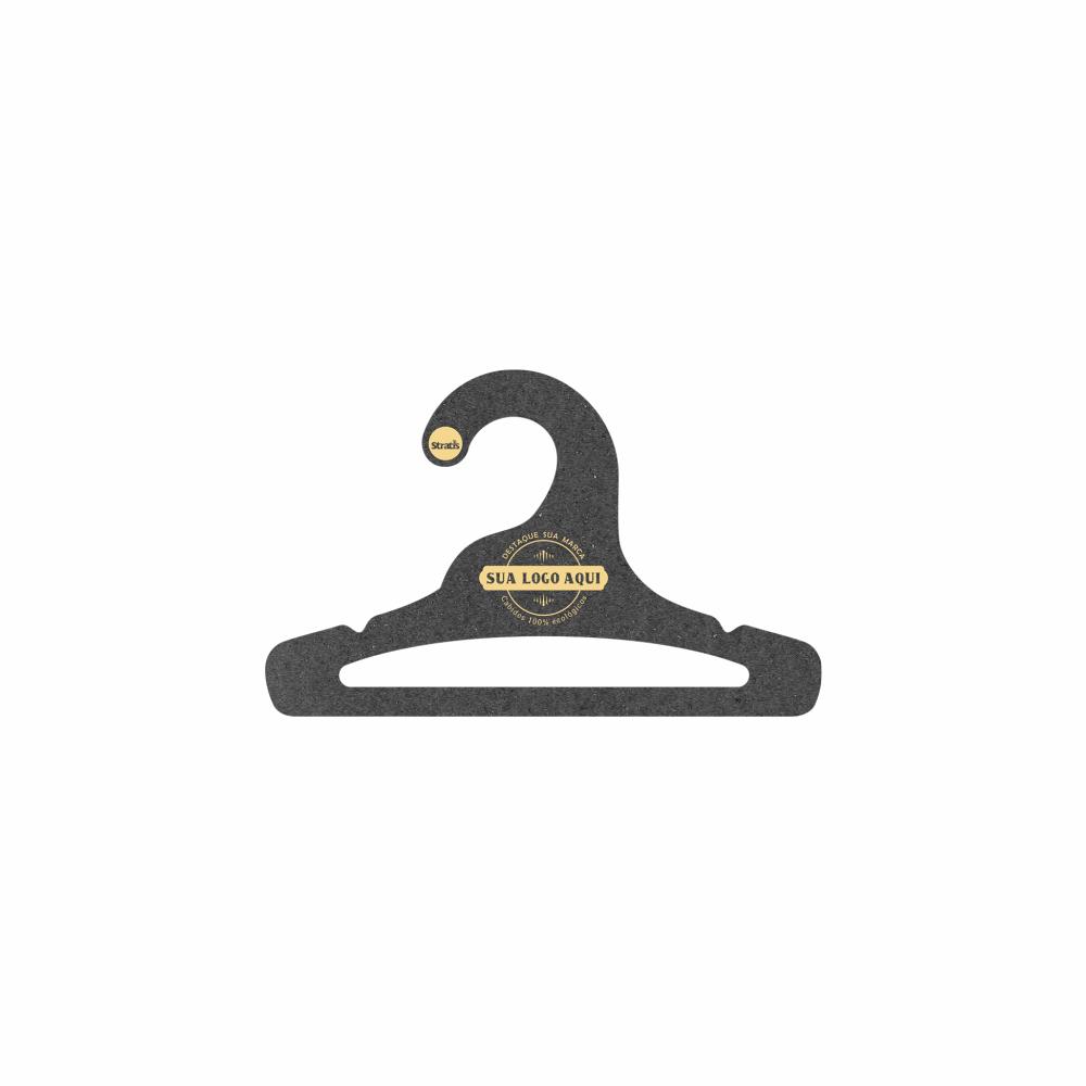 Cabide Ecológico Personalizado com sua Logo - Infantil Aberto - Preto - CS101