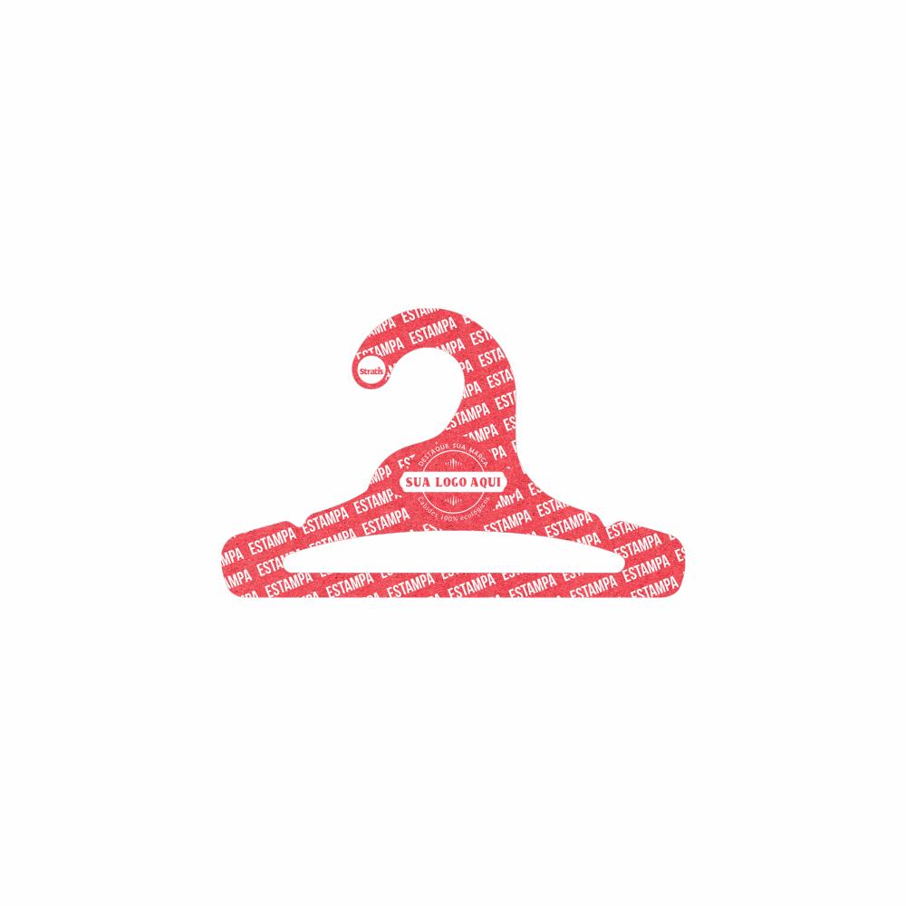 Cabide Ecológico Personalizado com sua Logo - Infantil Aberto -Vermelho- CS101