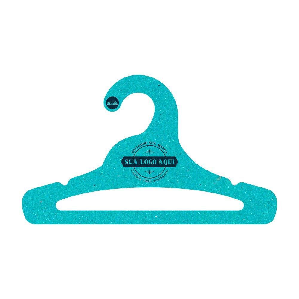 Cabide Ecológico Personalizado com sua Logo -Juvenil Aberto -Azul Ciano- CS103