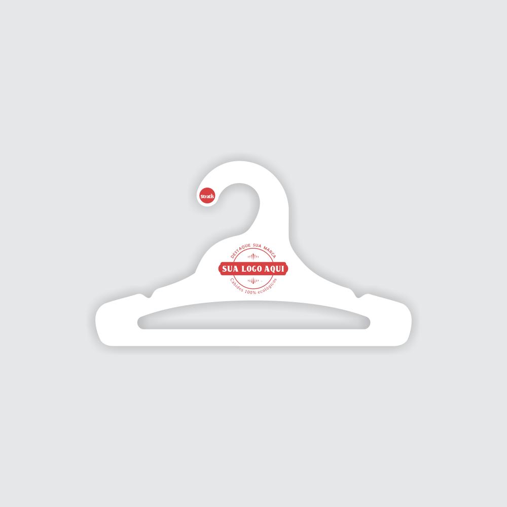 Cabide Ecológico Personalizado com sua Logo - Juvenil Aberto - Branco - CS103