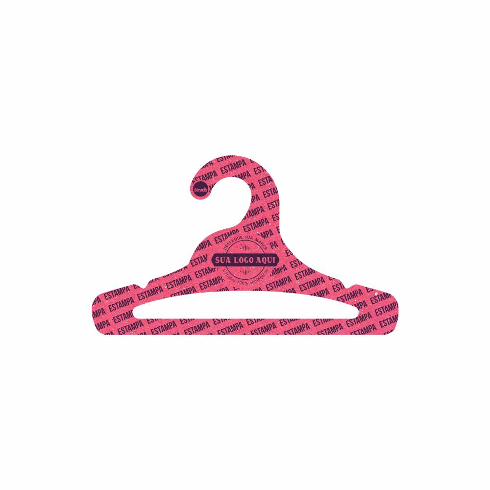 Cabide Ecológico Personalizado com sua Logo -Juvenil  Aberto - Rosa- CS103