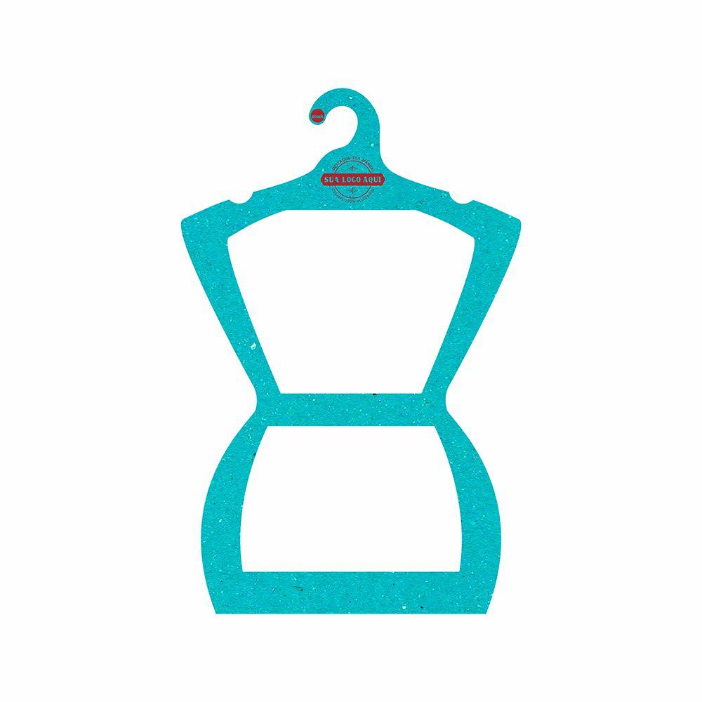 Cabide Ecológico Personalizado com sua Logo - Silhueta Adulto  -Azul Ciano CS109