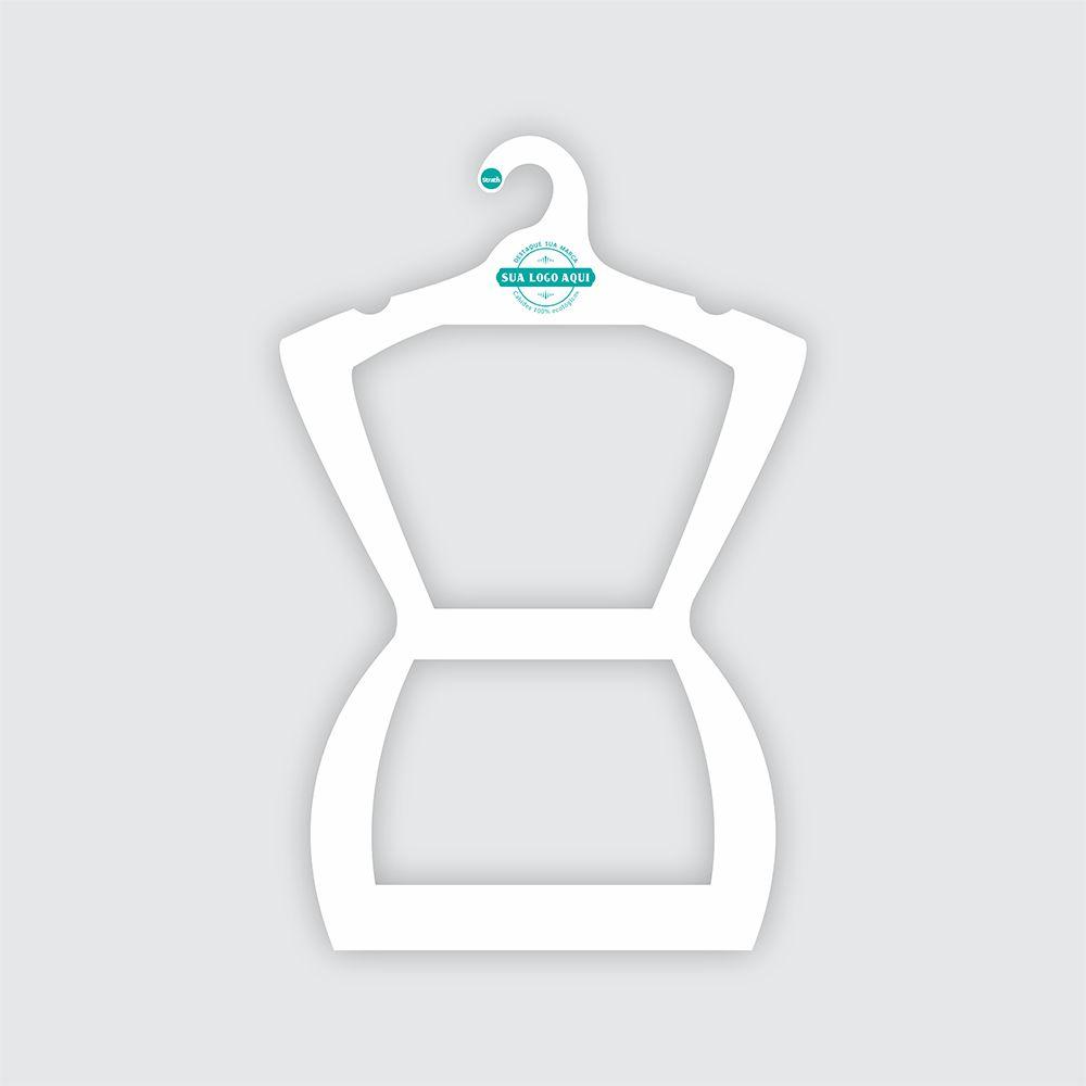 Cabide Ecológico Personalizado com sua Logo - Silhueta Adulto  - Branco - CS109
