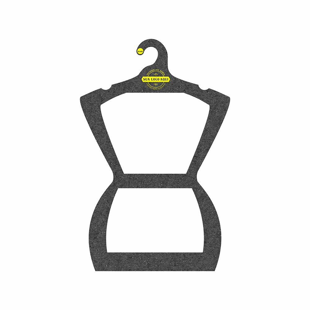 Cabide Ecológico Personalizado com sua Logo - Silhueta Adulto  - Preto - CS109