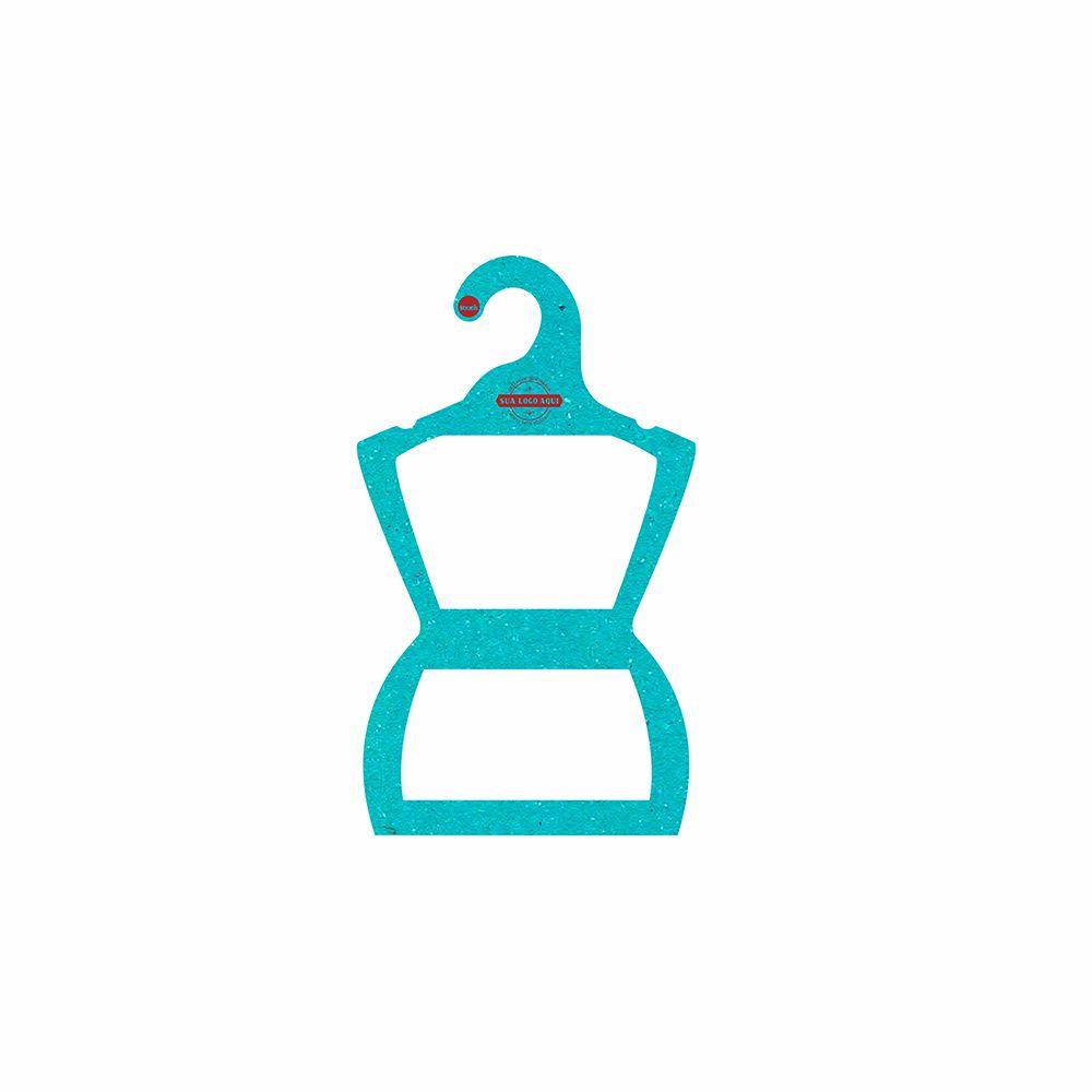 Cabide Ecológico Personalizado com sua Logo - Silhueta Infantil  -Azul Ciano CS107