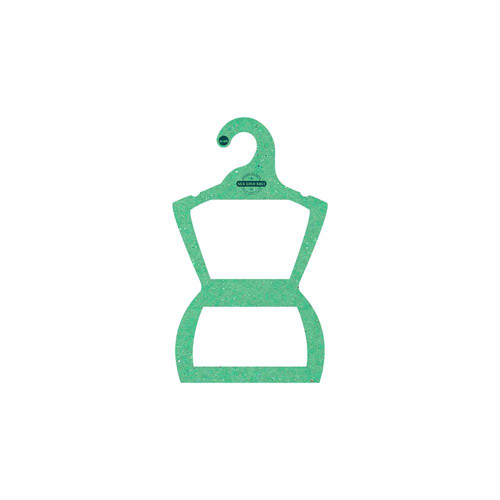Cabide Ecológico Personalizado com sua Logo - Silhueta Infantil  - Verde Claro - CS107