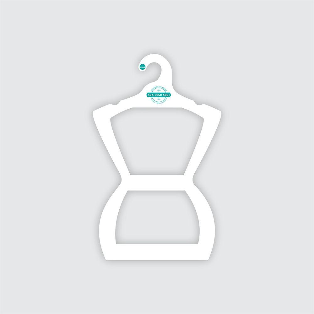 Cabide Ecológico Personalizado com sua Logo - Silhueta Juvenil  - Branco - CS108
